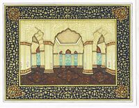 Indian Miniature Design Of Mughal Palace Painting Real Gold & Gouache Artwork