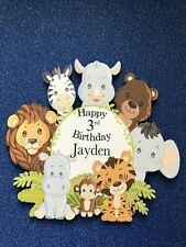 Jungle /safari animal themed cake insert/topper personalised any name and age