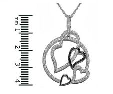 """Pave 5A Open CZ Open Heart Large Medallion Rhodium Plated Necklace 16 to 18"""""""