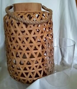 Urban Trends Collection Bamboo Lantern #41307 +  Glass Candle Holder - New!