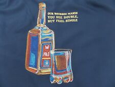 Caribbean Mens Hawaiian Camp Shirt Medium Navy w/Embroidered Bourbon Theme $89