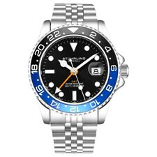 Stuhrling 3968 1 Aquadiver Swiss Quartz GMT Date Stainless Steel Mens Watch