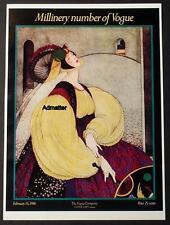 VOGUE FASHION MAGAZINE COVER POSTER FEB 1916 MILLINERY G. PLANK ART DECO PRINT