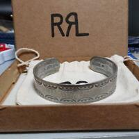 RRL THE DOUBLE RL SUPPLY COMPANY STERLING SILVER BANGLE FOR MAN WITH BOX F/S