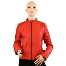 Women Genuine Leather Red Jacket Round neck Zip Up Style Quilted Shoulders