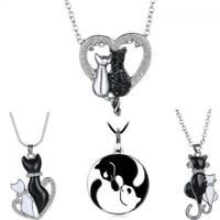 Chic Women Black & White Cats Tierherz Kristall Kette Leder Halskette Anhänger