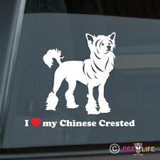 I Love My Chinese Crested Sticker Die Cut Vinyl - Puff
