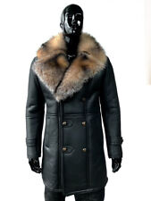 Sheepskin Leather Men's Coat with Chrystal Fox Fur Collar Brown Collar Size L