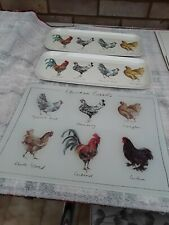CHICKEN DESIGN CHOPPING BOARD AND TWO TRAYS