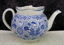 c 1820 Antique Staffordshire B. Adams Tendril Blue Transferware Pearlware Teapot