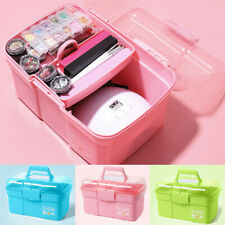 Multifunctional Nail Makeup Tool Organizer Box Portable Nail Polish Storage Case