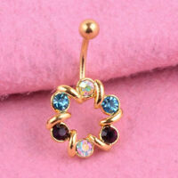 Stainless Steel Crystal Flower Navel Ring Belly Button Bar Body Piercing Jewelry