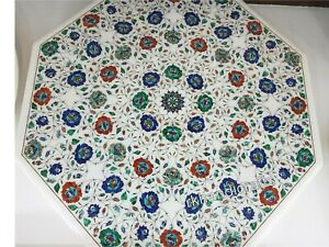 Decent Look Meeting Table Top with Mosaic Art Marble Dining table Intricate Work