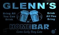 p117-b Glenn's Home Bar Beer Family Name Neon LED Sign