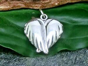 Engelsflügel Herz Medaillon 925 Echt Silber Anhänger Engel Flügel zu Öffnen