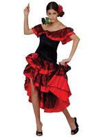 Adult Ladies Spanish Senorita Fancy Dress Flamenco Dancer Costume UK Sizes 6-24