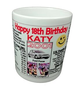 18TH BIRTHDAY MUG -2002 - NEWS HISTORY COSTS SPORT - IDEAL GIFT - ADD A NAME