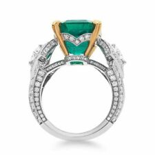Natural Green Emerald 6x6mm Solitaire Diamonds Ring Solid 14K 2-Tone Gold