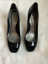 BCB Girls Black Peep Toe Heels (pre-owned, well worn)