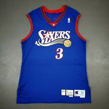 100% Authentic Allen Iverson Champion 99 00 Sixers Game Issued Jersey 44+2""
