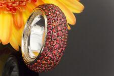 Schmuck Ring mit Padparadscha Saphir Brillanten seitlich Weißgold 750 Größe 56