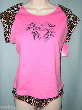 Betsey Johnson Pink, Brown Leopard Shorty PJ Set Size L Top, Size S Bottom