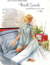 Wamsutta Blue Candy Stripe Sheets GGA Portable TV Girl in Lacy Jammies 1957 Ad