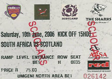SOUTH AFRICA v SCOTLAND 1st Test 2006 RUGBY TICKET