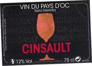 Etiquette de vin - Vin de pays d'Oc - Terra Meridia - Cinsault
