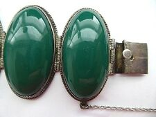 Vintage Mexico Taxco sterling silver large green Onyx jade wide bangle bracelet