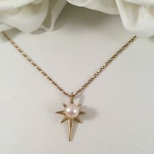 Vintage Jewellery Gold Necklace White Pearl Pendant Gold Chain Antique Jewelry