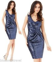 Goddiva Navy Sequin Bow Detail Cocktail Evening Party Dress 8-14 Prom RRP £67