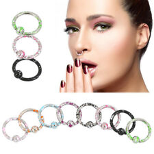 8pc Surgical Steel Nose Ring Hoop Cartilage Tragus Helix Lip Ear Piercing Ring