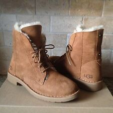 UGG Quincy Chestnut Suede Sheepskin Lace up Ankle Boots Shoes US 7.5 Womens