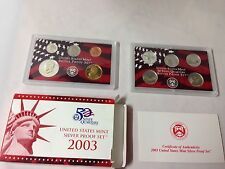 2003 US MINT SILVER PROOF SET W/ STATE QUARTERS KENNEDY SACAGAWEA  10 COINS COA