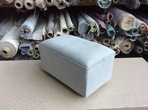 footstool / pouffe upholstered in Laura Ashley annalise steel