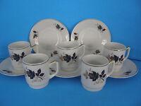 VINTAGE TEA CUP &  SAUCER BAVARIA GERMANY  ROSE BUD GOLD TONE TRIM  SET OF 5