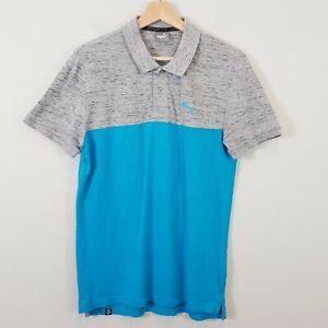 PUMA Mens Size M Blue / Grey Short Sleeve Polo Shirt