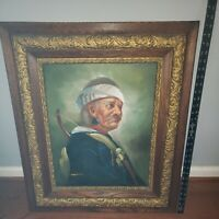 """Antique Gilt Gesso Wood Frame Native American Oil Painting Signed 29.5""""x26"""""""