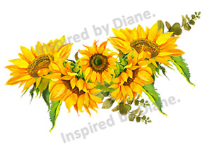Clear Wall & Furniture STICKER Extra Large A3 /Cut & Stick/ Sunflowers  /914