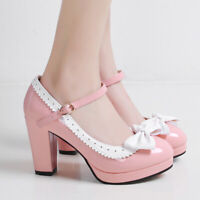 Women Mary Janes Platform Big Bow Strappy Pointy Toe High Heel Party Pumps Shoes