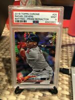 2018 Topps Chrome Prism Refractor Rafael Devers #25 PSA 9 Boston Red Sox
