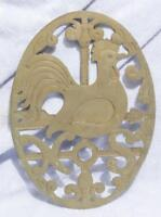 Vintage Brass Rooster Trivet made in Italy mv