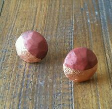 Copper leaf geometric faceted polymer clay round studs sterling silver earrings