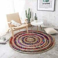 Vintage Round Jute Cotton Rugs Bohemian Area Dhurrie Boho Mat Reversible Rag Rug