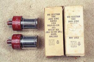 2, NEW, RCA JAN-CRC-5692, military, matching pair, red base, hi reliab., 6SN7GT