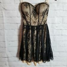 Guess Women's Lace Mini Dress Size 3 Halter W/Attachable Neck Strap Jet Black