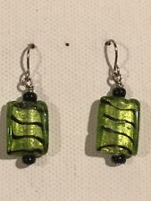 TIGER STRIPE Earrings Surgical Hook New Glass Bead Green Color Rectangle
