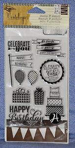 Hampton Art Vintologie Clear Stamp & Stencil - Birthday -  SC0646:  NEW!