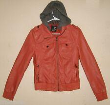 Womens Jrs M FULL TILT Salmon Faux Leather Zipper Front Bomber Jacket Knit Hood